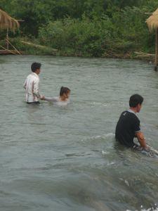 Swimming at Kampi rapids